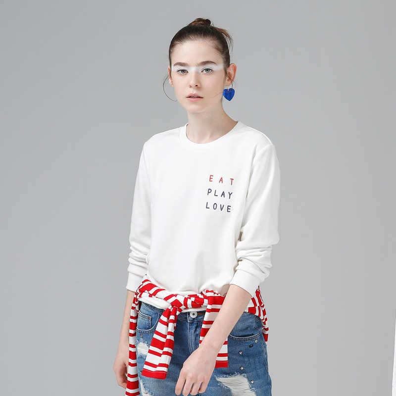 Toyouth blanco sudaderas con capucha mujer 2019 Bordado de letras de manga larga chándal femenino Casual jerseys básicos Tops