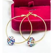 Women Trendy Classic Hyperbole Gold Silver Color Crystal Rhinestone Ball Geometric Round Big Hoop Earrings