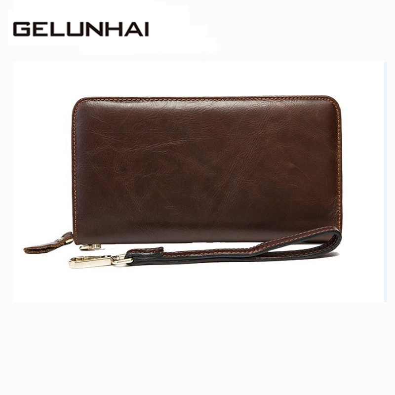 2017 Special Offer Genuine Leather Men Wallets Long Design Man Clutch Bag Male Purse Cash Money Bill Phone Card Clip Hand 9012