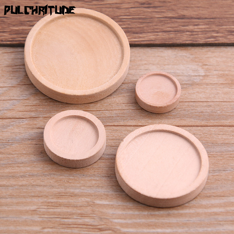 PULCHRITUDE 10pcs 12/15/25/30mm Inner Size Wood Color Round Wood Cabochon Base Setting Charms Pendant Necklace Findings P6946
