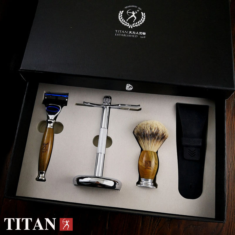 Titan men shaving baber 5 blade razor set in sandal wood handle  free shipping razor gift setTitan men shaving baber 5 blade razor set in sandal wood handle  free shipping razor gift set