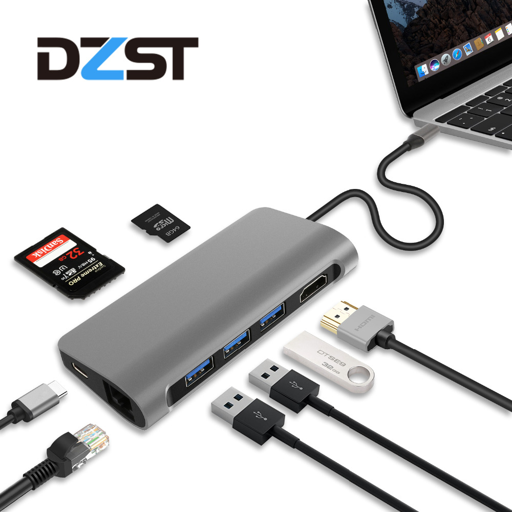 DZLST USB C 3.1 hub to Ethernet LAN HDMI 4K SD/TF Card Reader USB 3.0 PD Combo HUB Splitter For Macbook Pro Samsung S9/S8/S8+-in USB Hubs from Computer & Office    1