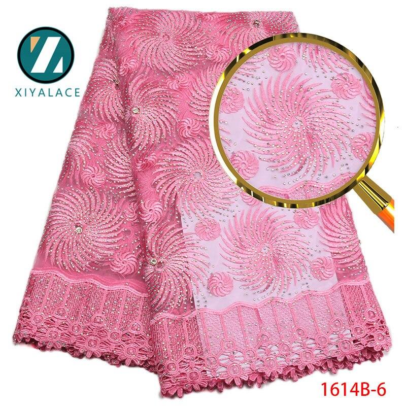 2018 африканская кружевная ткань розовая гипюровая кружевная ткань с камнями Высокое качество африканская Ngerian Свадьба для чистой кружевной ...
