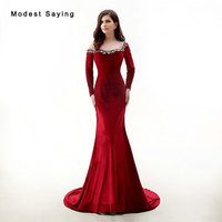 New Arrival 2017 Sexy Illusion Wine Red Beaded Evening Dresses Long Sleeve Velvet Evening Gowns Mermaid Velour Party Prom Gowns