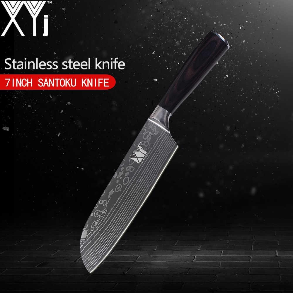 XYj واحدة الفولاذ المقاوم للصدأ سكين 3.5 ، 5 ، 5 ، 7 ، 8 ، 8 بوصة جميلة الأوردة نمط المطبخ سكين لون الخشب مقبض أدوات الطبخ