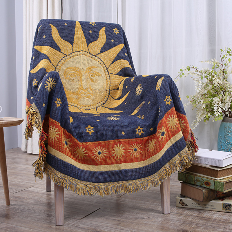 Quality thick cotton blankets fornasetti sun-god blanket practical blanket on the bed sofa home decorative throws blanket cover new knitted blankets towels luxury hotels home sofa wool blanket europe leisure jacquard cotton blanket decorative bedding