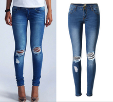 High Quality Skinny Jeans Pants For Women Slim Ripped Hole Distrresed Cotton Denim Pencil Pants Plus