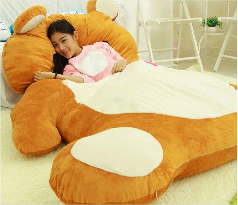 200cm x 140cm cartoon rilakkuma beanbag soft plush giant bear sleeping bag bed mat tatami free - Giant Bean Bags