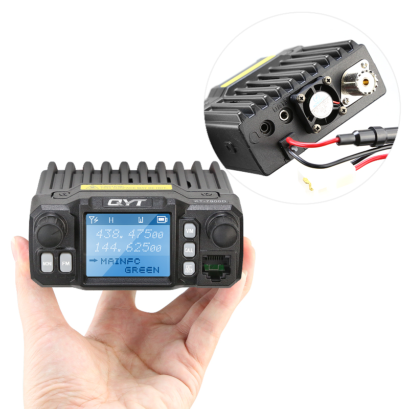 QYT KT-<font><b>7900D</b></font> Quad Band 136-174/220-270/350-390/400-480MHz 25W 200 Channels Colorful Screen Mini Mobile FM Radio with Cable image