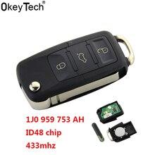 OkeyTech Car key 3 Buttons 434 MHZ Flip Key Fob Blank Blade ID48 chips K17 Fit For VW SKODA SEAT 1J0 959 753 DA 1J0 959 753 AH 959 3