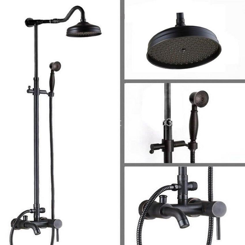 8 inch Bathroom Rainfall Shower head Arm Handspray Rain Shower Faucet Set Wall Mount Modern Oil