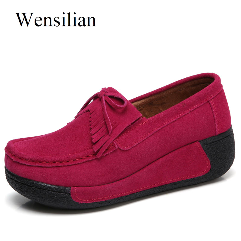 Summer Women Flats Genuine Leather Platform Shoes Ladies Creepers Flats Tassel Slip On Loafers Casual Pink Shoes Zapatos Mujer minika women shoes summer flats breathable lace loafers platform wedges lose weight creepers platform slip on shoes woman cd41
