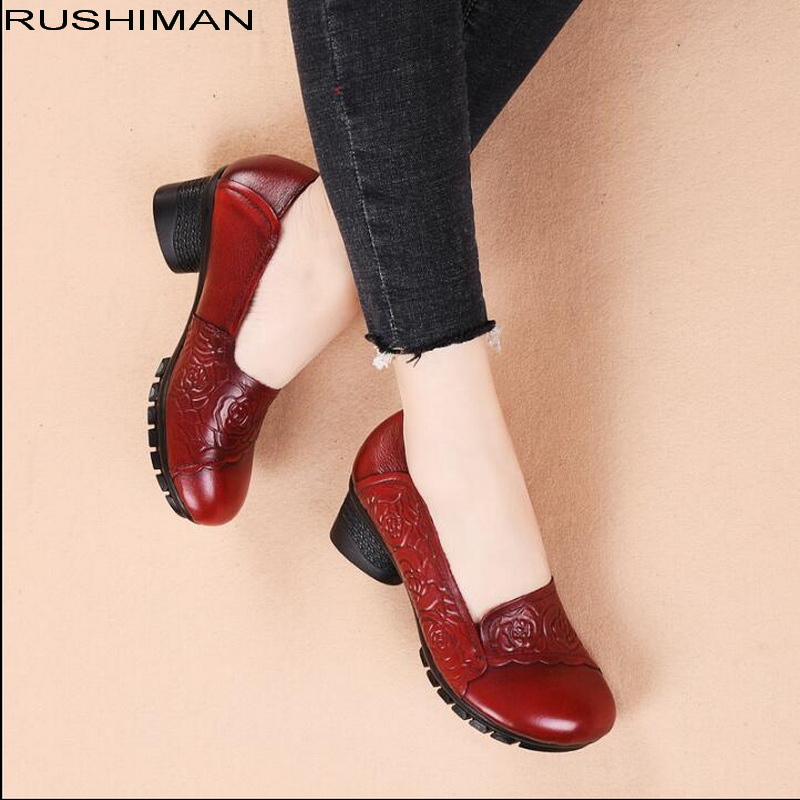 RUSHIMAN Spring Fashion Loafers 100 Genuine Leather Ballet Flats Soft Casual Autumn Pregnant Shoes Women Flats
