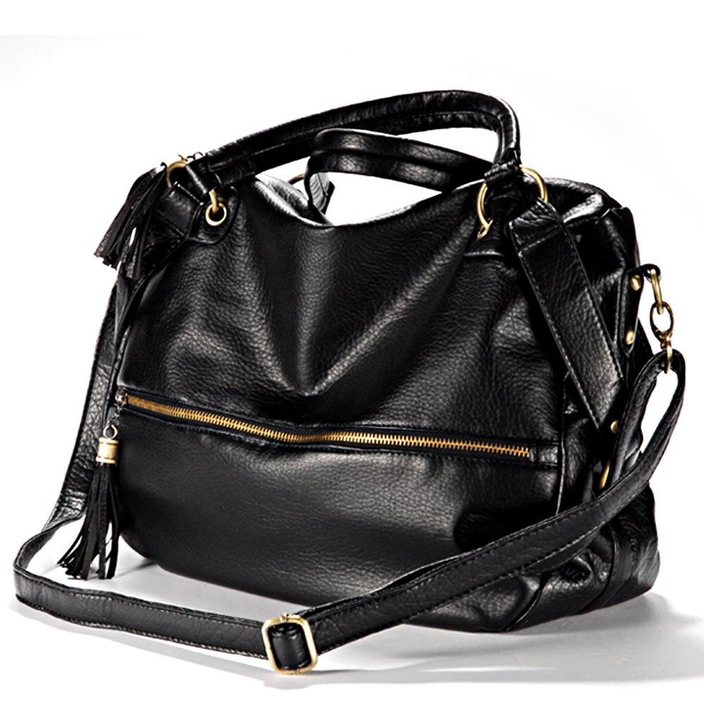 HEBA Large Shoulder Handbag Fringed shoulder strap Imitation varnished Leather Zipper Black