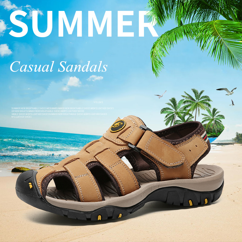 Mens Summer Casual Hiking Leather Sandals Breathable Closed Toe Beach Shoes New
