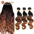 Grade 8A Ombre Brazilian Virgin Hair Body Wave 3 Bundles 3 Toned Ombre 1b 4 30 Dark Brown Human Hair Extensions In Stock