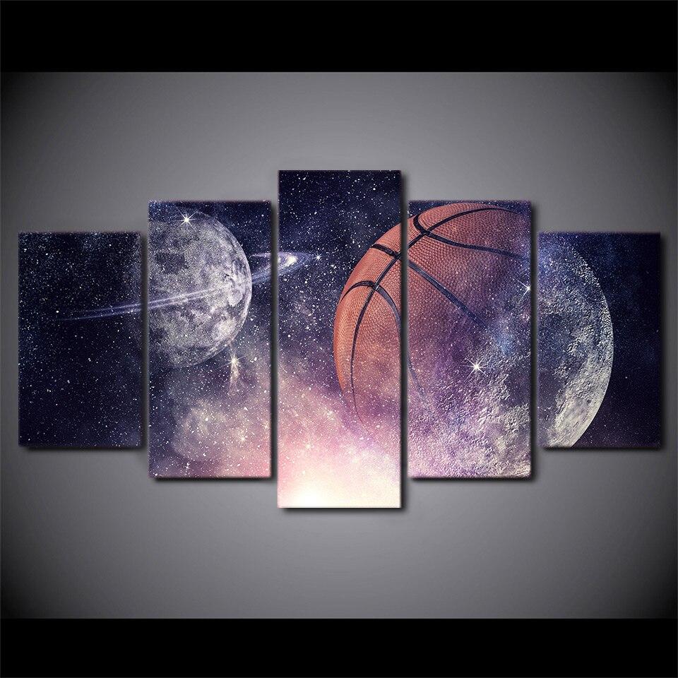 5 pièces Toile HD Imprimé Basket Ciel Étoilé Affiche Encadrée Mur Art Photo Peinture Pour Salon Deco Maison