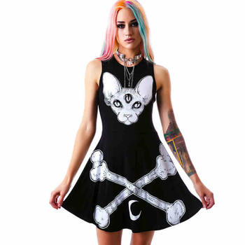 3 Eyes Monster & Bones A-Line Mini Dress