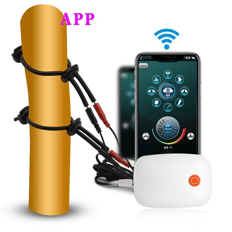 Electric Shock Ring On Penis Phone APP Control Current Orgasm Stimulator Vibrator Body Massager SM Masturbator For Men Sex Toys