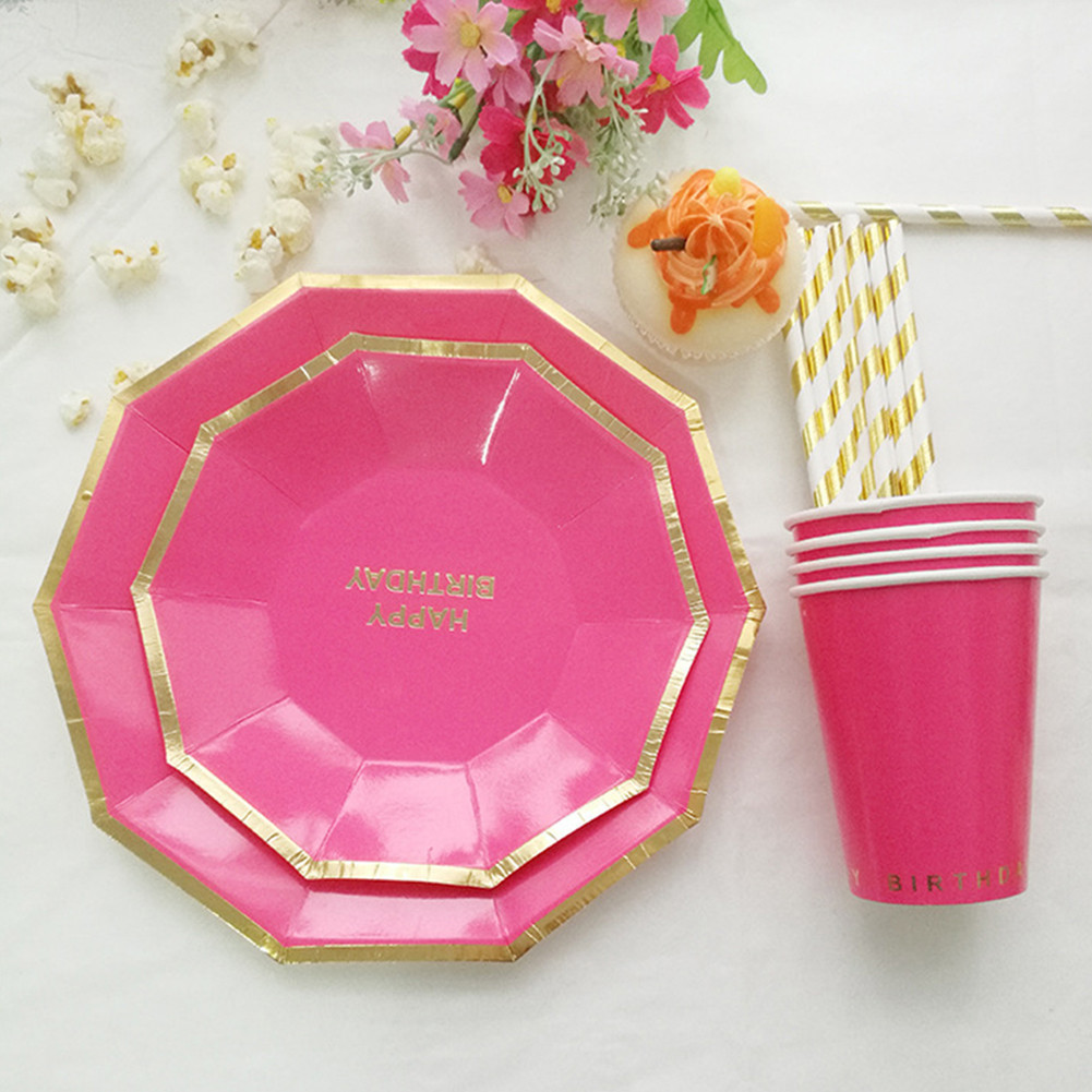 49pcs/lot Birthday Party Dinnerware Set Disposable Plates and Cups Straws Decorative Paper Tableware Food Tray-in Disposable Party Tableware from Home ...  sc 1 st  AliExpress.com & 49pcs/lot Birthday Party Dinnerware Set Disposable Plates and Cups ...