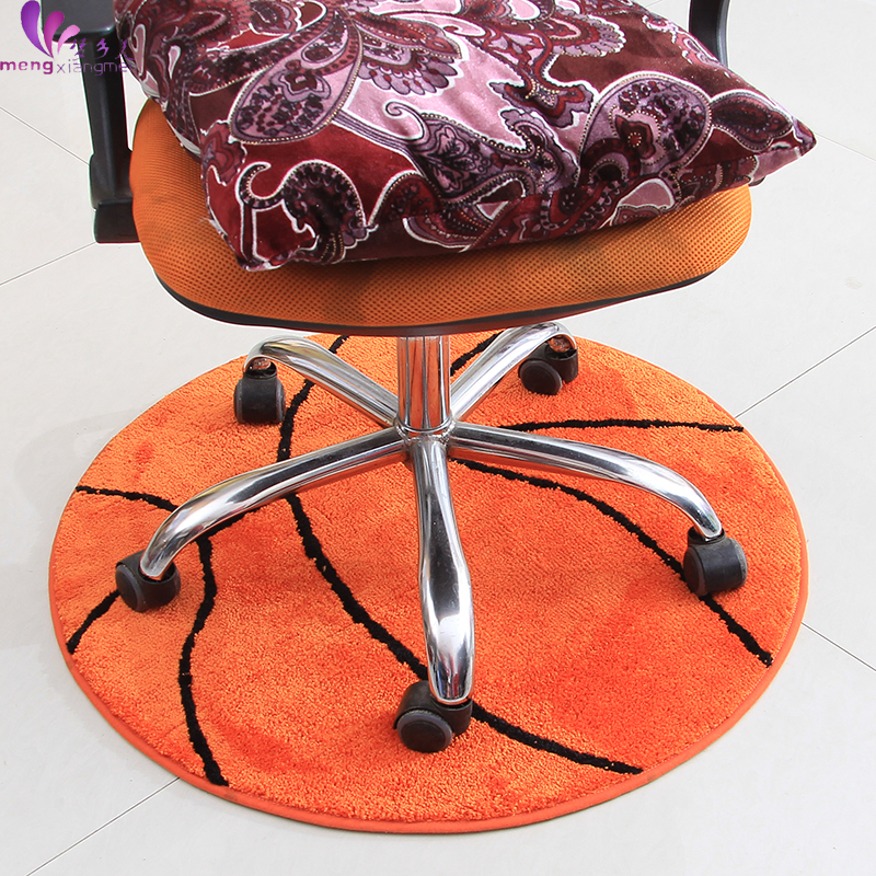 90CM Diameter Round Basketball Door Mat Soft Suede Children Bedroom Rugs  And Carpets Rotate Chair Floor