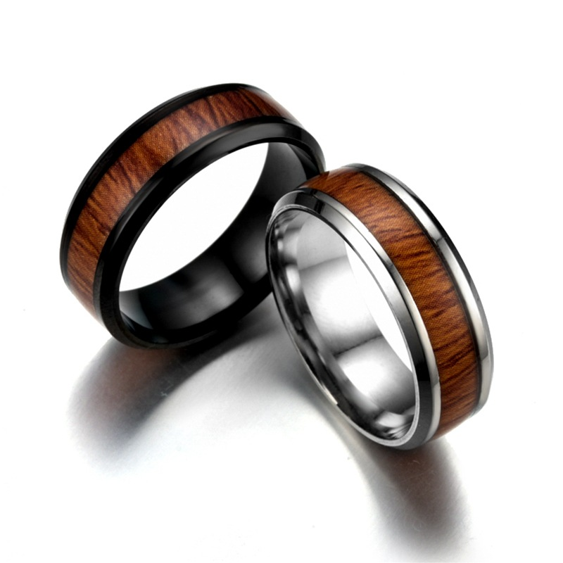 The Cheapest Price Wholesale Stainless Steel Titanium Steel Mosaic Wood Grain Ring Not Rust Does Not Fade Free Ship 12pcs/lot Elegant In Style Jewelry & Accessories