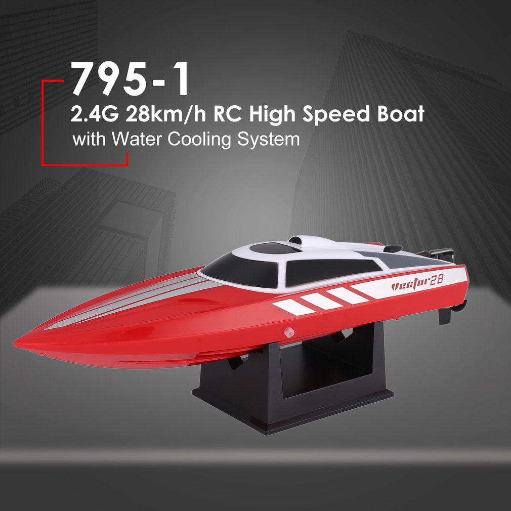 High Speed RC Speedboat 795-1 28km/h 2.4G Brushed Remote Control RC Racing Boat Ship with Water Cooling System for Kids Gift Toy цена 2017