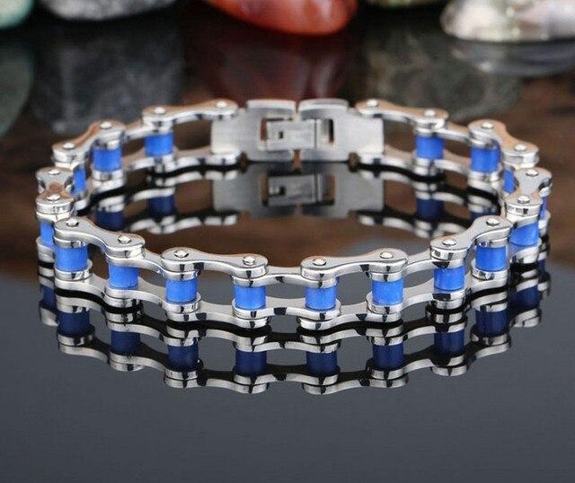 Mode classique hommes Bleu vélo chaîne Titanium bracelet en acier bleu eb52560b0cb6
