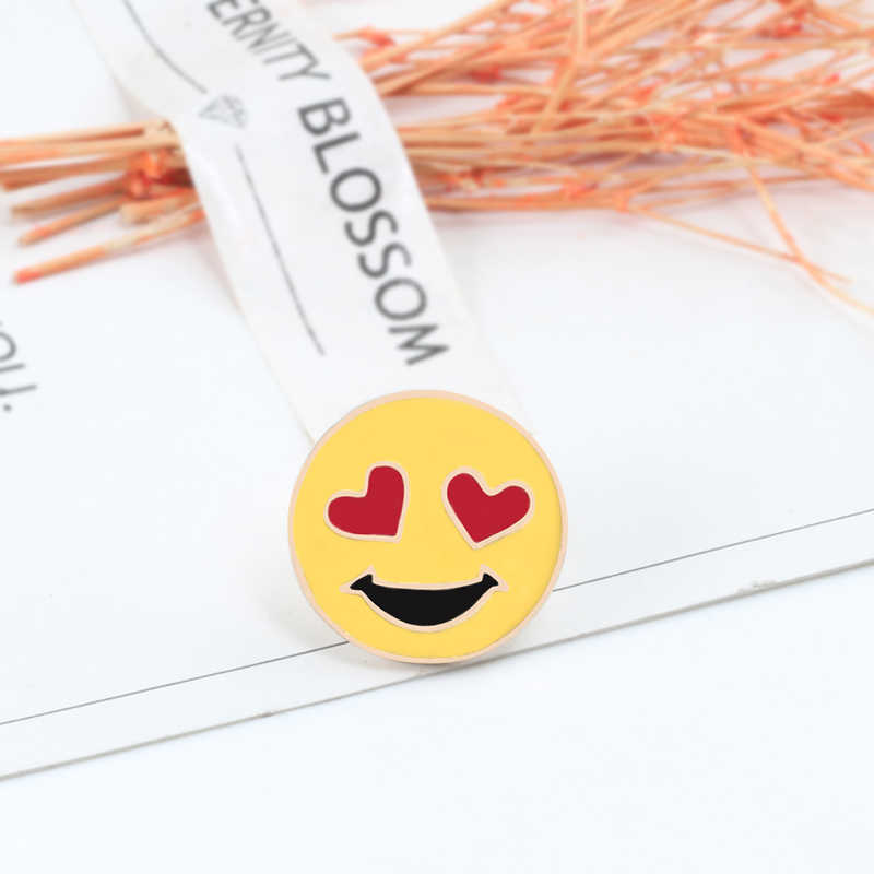 Baru Lucu Wajah Smiley Kuning Ekspresi Logam Kartun Enamel Pin Bros Anak Ransel Bros Hadiah Wanita Kerah Pin Lencana Perhiasan