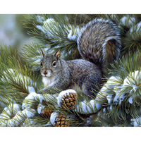 Needlework Diamond Embroidery Squirrels Eat Fruit Snow Diamond Painting Cross Stitch Animal Painting Children Bedroom Adornment