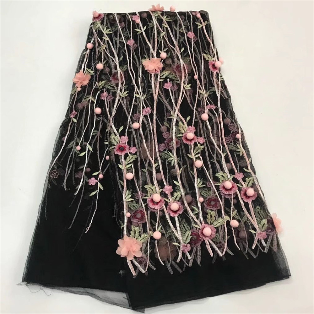 เจ้าสาวลูกไม้ผ้าไนจีเรียลูกไม้ 3d ดอกไม้ผ้าปักคุณภาพสูง tulle ผ้าขายส่ง 5 หลา/lotJW 173-ใน ลูกไม้ จาก บ้านและสวน บน   1
