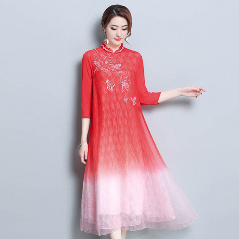 Red silk plus size 3xl 4xl Chinese retro robe print floral embroidery party runway dresses half loose casual vestido long clothe