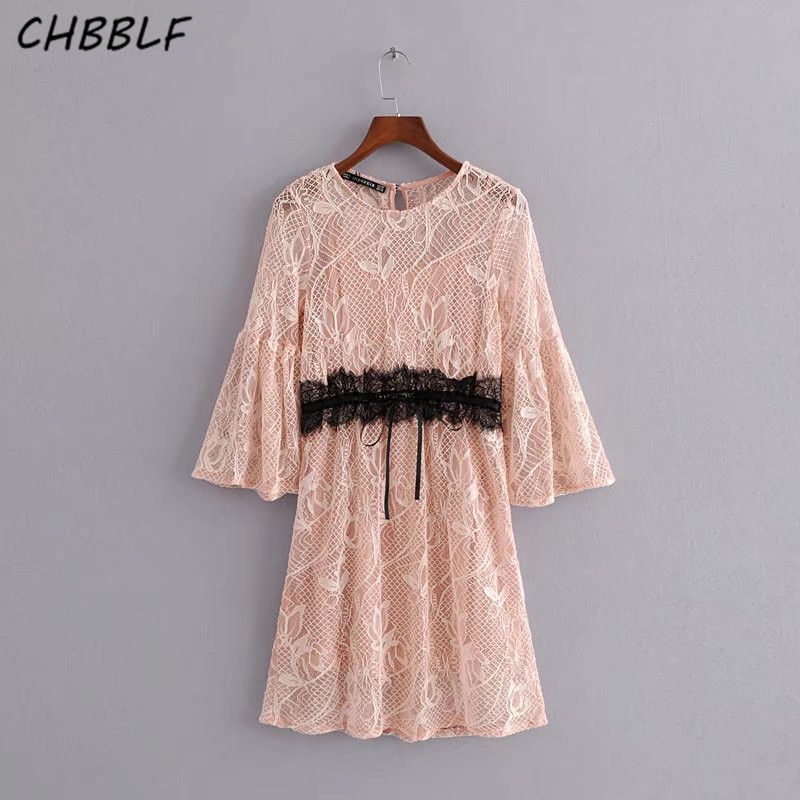women dress bow tie belt flare sleeve chic retro vintage lady mini dresses Naked pink fantasy lace vestidos mujer HJH1425