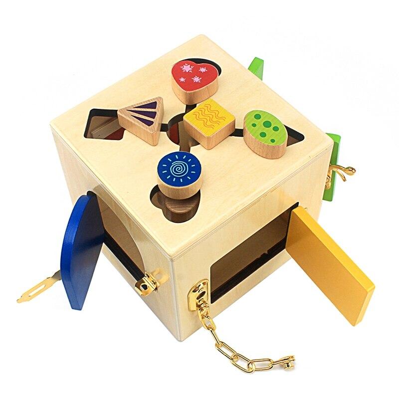 Montessori ensino multifuncional caixa de bloqueio conjunto bebê aprender a desbloquear educação precoce brinquedos prática vida habilidade brinquedo meninos meninas