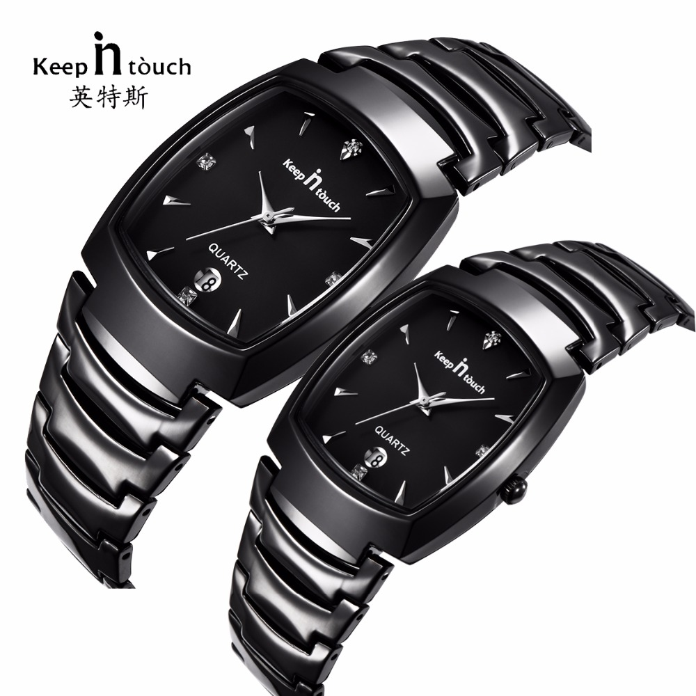 KEEP IN Touch Fashion Couple Lovers Watch Waterproof Luxury Women Mens Watches Stainless Steel Dress Wedding Gift Wirstwatch keep in touch couple watches for lovers luminous luxury quartz men and women lover watch fashion calendar dress wristwatches