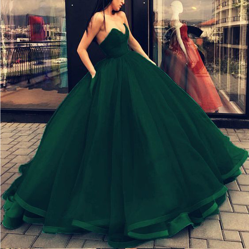 Simple Sweetheart Vestidos De Graduacion Tull Vestido Formatura Ball Gown Long Evening Prom Dresses 2019 Robe