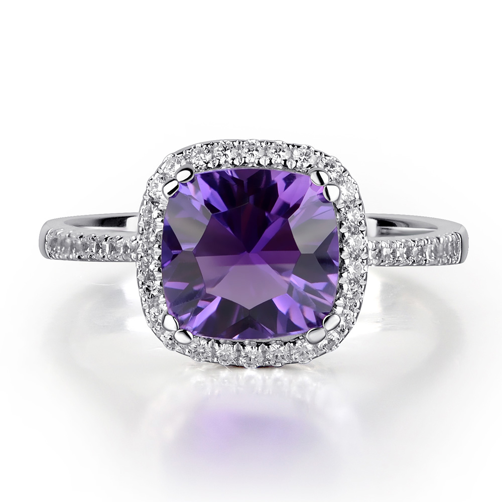 rings ring purple engagement image diamond gemstone in amethyst white gold cushion dress