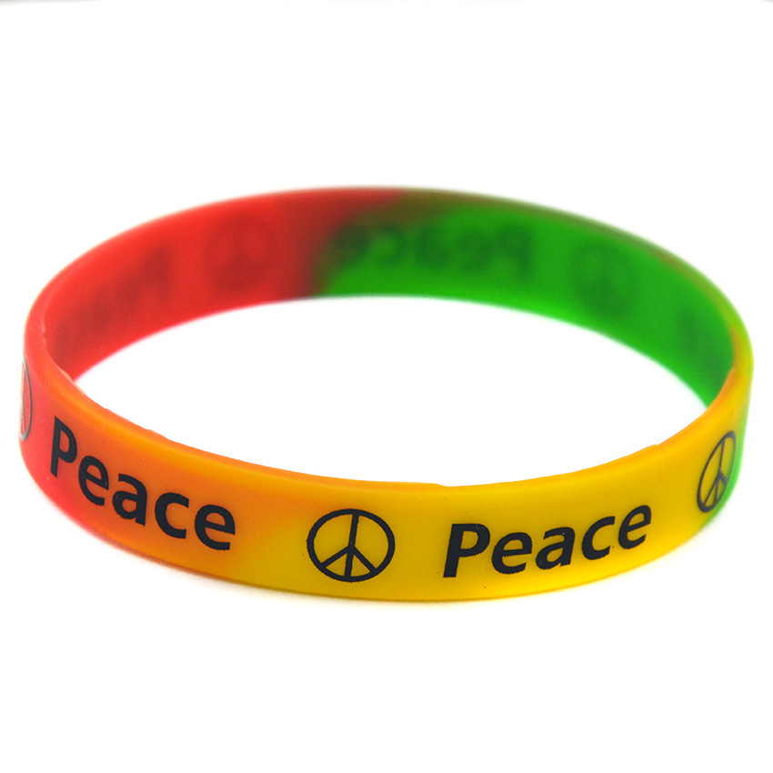 1PC Subsection Color Printed Peace Silicone Wristband for Charity Activities image