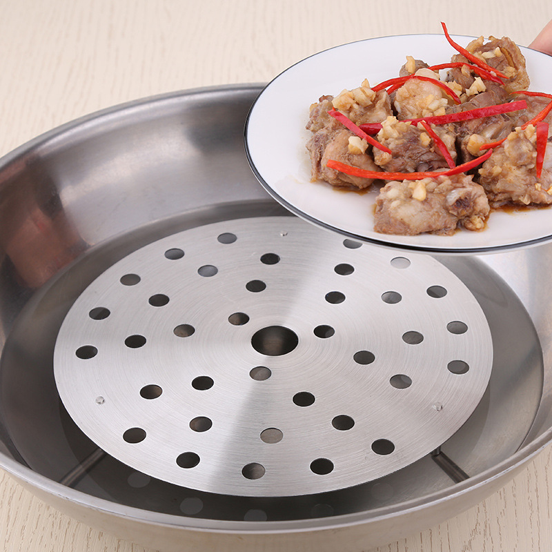 Steamers Cookware Circular  Insulation Pad SUS 304 Thickening Stainless Steel Three Branches Steamer Steaming Egg Fish Buns