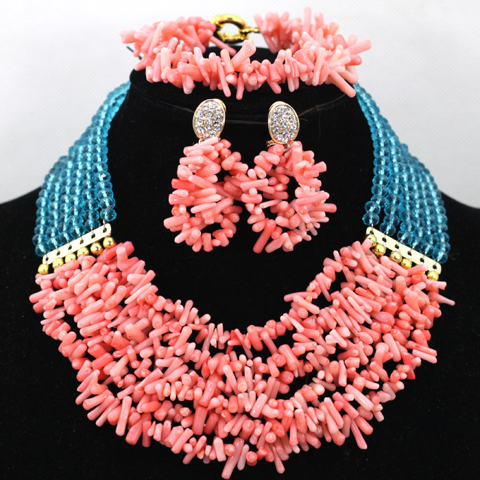 Pretty 6 Layer Peach Coral Beaded African Jewelry Set Sky Blue Crystal Costume Gift Jewelry Set Chunky Free Shipping CNR436