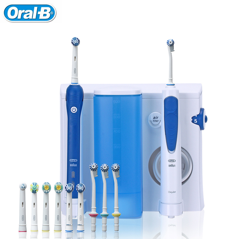 Oral B Irrigator Electric Toothbrush Family Oral Care Center 7+4 heads Plaque Remove Gume Care Dental Water Flosser Teeth White image