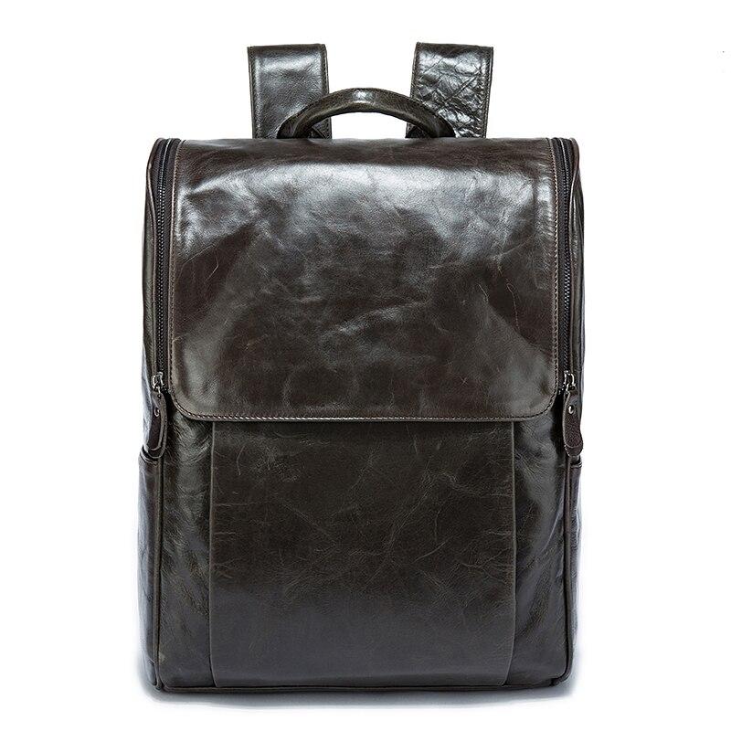Для мужчин рюкзак натуральная кожа кожаный рюкзак для ноутбука Мужской прочный большая вместительность Многофункциональный Винтаж Бизнес... - 3