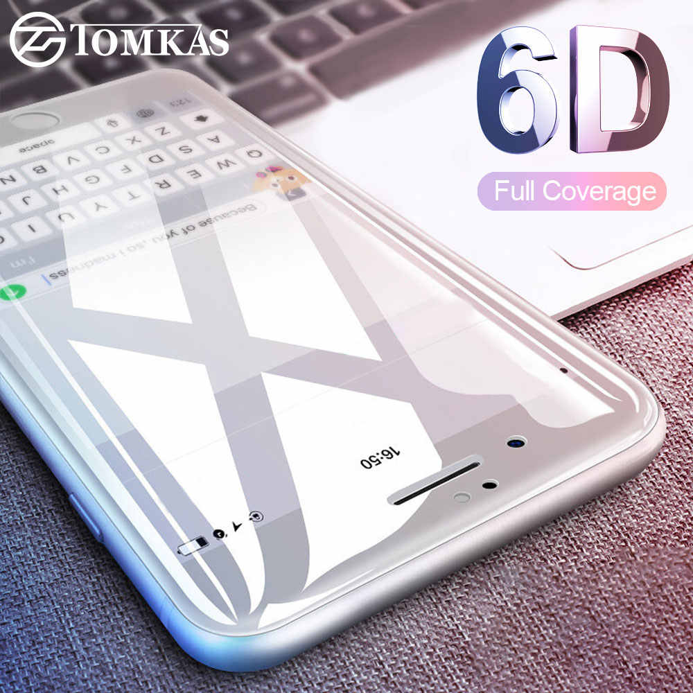 TOMKAS 6D Protective Glass on the For iPhone 7 7 Plus Screen Protector 5D Protective Glass For iPhone 6 6S 8 Plus X Glass (4D)