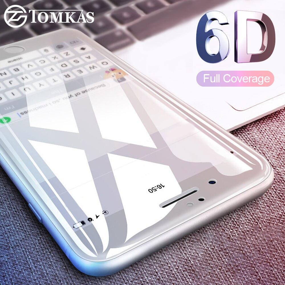TOMKAS 6D מגן זכוכית על עבור iPhone 7 7 בתוספת מסך מגן 5D מגן זכוכית עבור iPhone 6 6 s 8 בתוספת X זכוכית (4D)