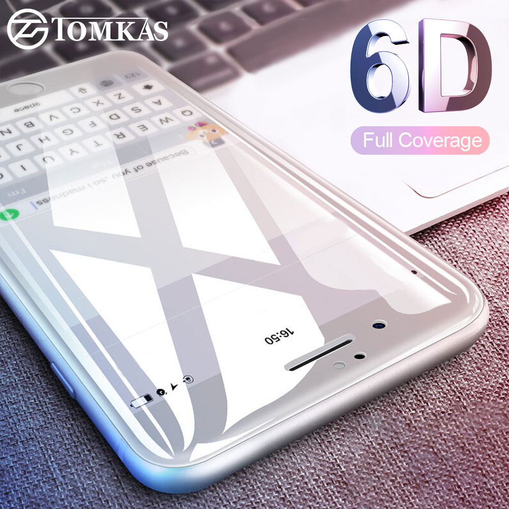Galleria fotografica TOMKAS 6D Protective Glass on the For iPhone 7 7 Plus Screen Protector 5D Protective Glass For iPhone 6 6S 8 Plus X Glass (4D)