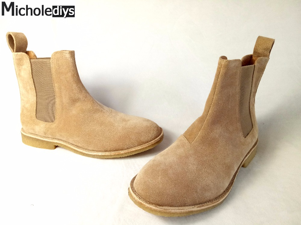 ФОТО Micholediys Classical Vintage Chelsea Boots Handmade All-matching Kanye West Boots Crepe Bottom Casual Platform High Mens Shoes