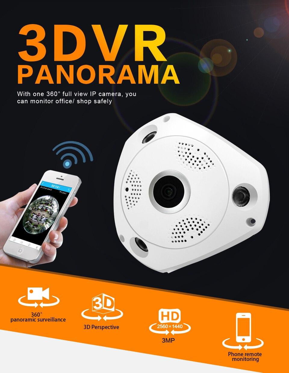1.3MP Panoramic IP VR Camera WiFi Network Fisheye 1.44mm 360 Wi-Fi Cameras 960P Wireless Surveillance CCTV Cam support VR BOX 1 3mp ip vr camera wifi network fisheye camera 1 44mm 360 panoramic wi fi cameras 960p surveillance cctv cam support vr box