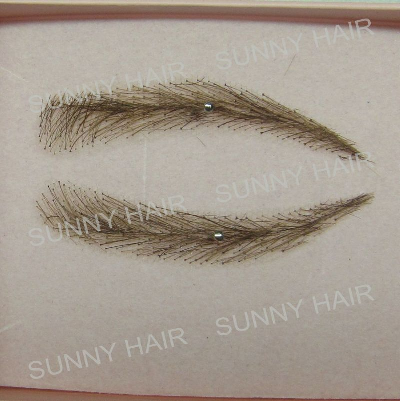 EB013 invisible swiss lace relastic hand made human hair false eyebrow dark brown 2# color whole sale hand made human hair false eyebrow 013 dark brown color invisible net