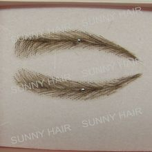 EB013 invisible swiss lace relastic hand made human hair false eyebrow dark brown 2# color