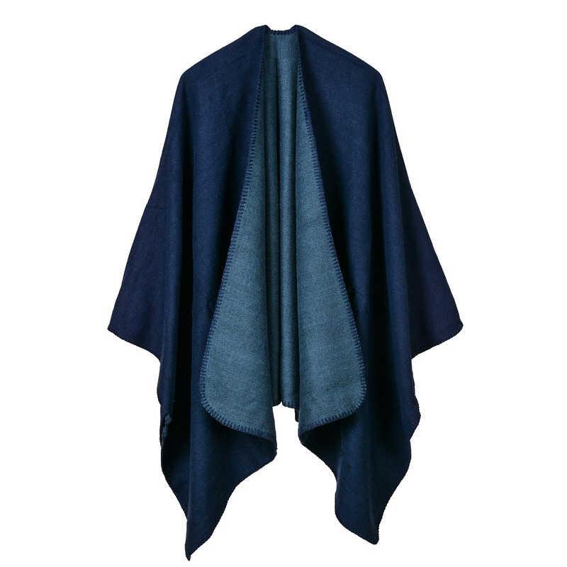 Женские зимние вязаные кашемировые Пончо Накидки толстые негабаритные Реверсивные обратные шали кардиганы свитер Одеяло пальто Шарфы